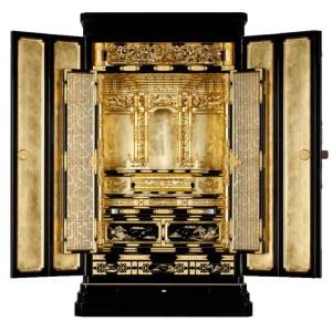 【西】浄土真宗本願寺派 様式「大型金仏壇」京型胴長 金箔 ー 正面