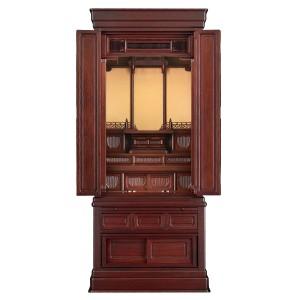 岸佛光堂オリジナル仏壇「仏光」板扉一枚型 紫壇系 ー 正面