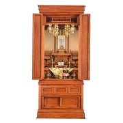 岸佛光堂オリジナル仏壇「仏光」板扉一枚型 欅(けやき) ー 正面から
