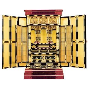 【東】真宗大谷派 様式「三方開き 大型金仏壇」江州型 金粉 ー 正面